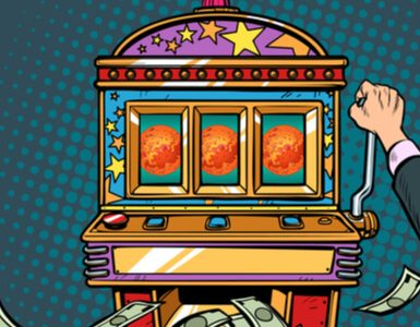 science Mars exploration prize slot machine. Pop art retro vector illustration vintage kitsch